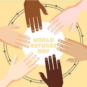 Flaches design weltflüchtlingstag konzept