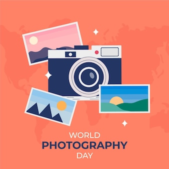 Flaches design-weltfotografie-tageskonzept