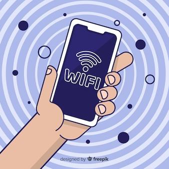 Flaches design wifi-netzwerk-konzept