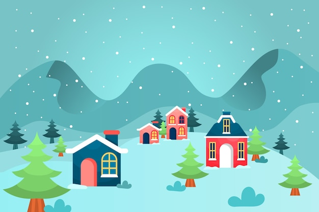 Flaches design winter hintergrund