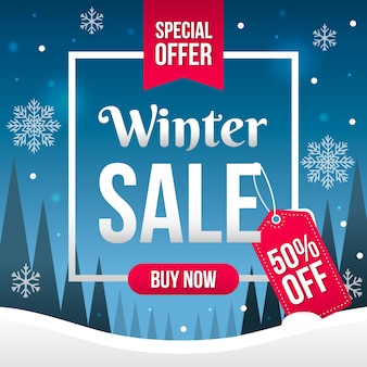 Flaches design winter sale banner konzept