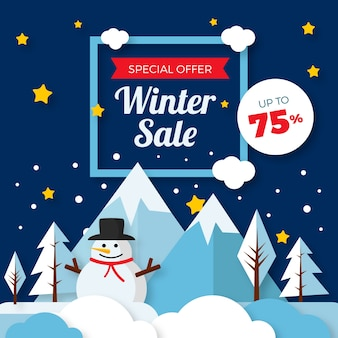 Flaches design winter sale konzept