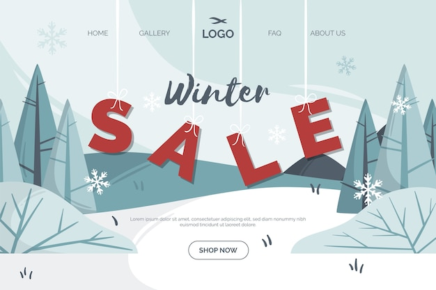 Flaches design winter sale landing page