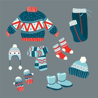 Flaches design winterkleidung und essentials