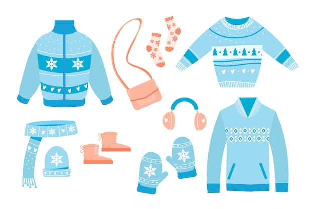 Flaches design winterkleidung und essentials