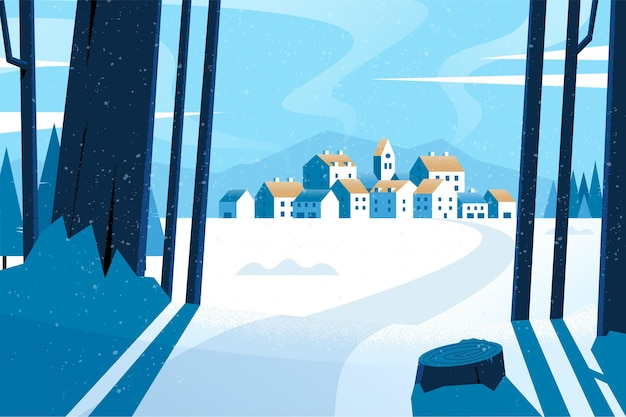 Flaches design winterlandschaft tapete