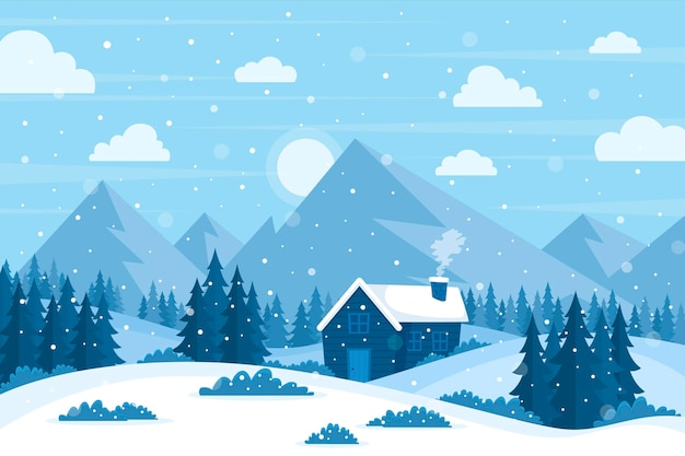 Flaches design winterlandschaft