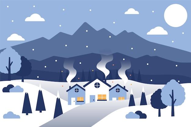 Flaches design winterlandschaft