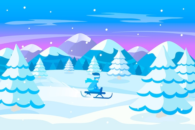 Flaches design winterlandschaftskonzept