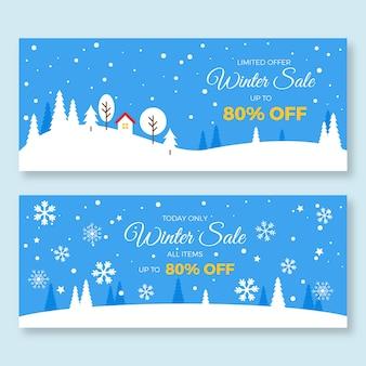 Flaches design winterschlussverkauf banner vorlage