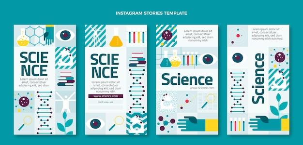 Flaches design wissenschaft instagram-geschichten