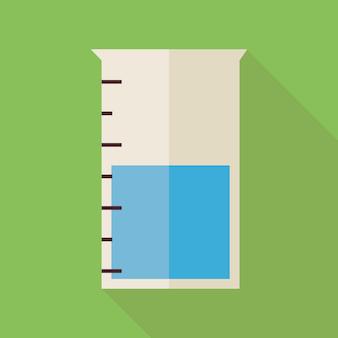 Flaches design wissenschaft und bildung chemie messkolben. zurück zu schule und bildung vektor-illustration. flache bunte flasche mit langem schatten. biologie physik und forschungsobjekt.