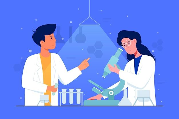 Flaches design-wissenschaftskonzept mit mikroskopillustration
