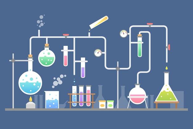 Flaches design-wissenschaftslaborkonzept