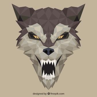 Flaches design wolf gesicht