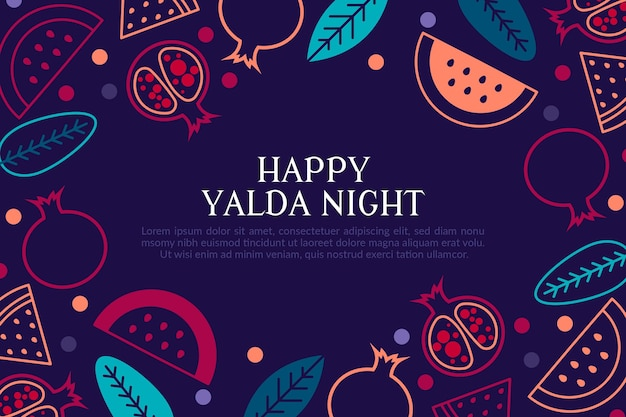 Flaches design yalda nacht iranisches traditionelles festival