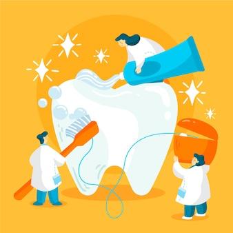 Flaches design zahnpflegekonzept illustration