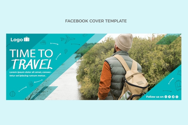 Flaches design zeit zum reisen facebook-cover