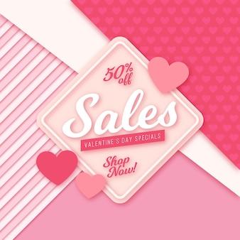 Flaches design zum valentinstag mit 50% rabatt