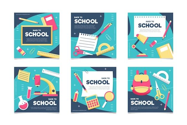 Flaches design zurück zur schule instagram beiträge sammlung