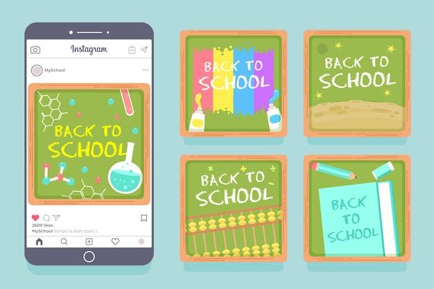 Flaches design zurück zur schule instagram post sammlung