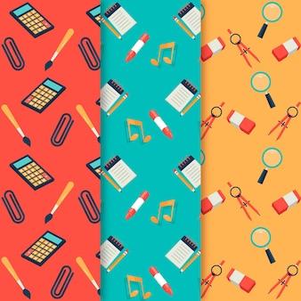 Flaches design zurück zur schulmustersammlung