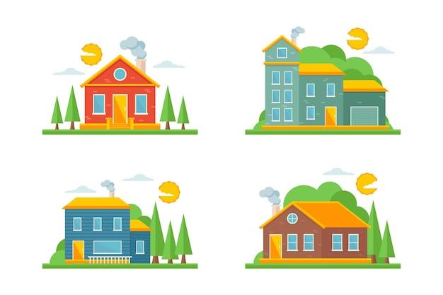 Flaches designhaus illustrationspaket