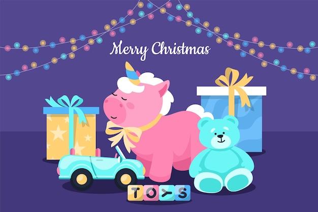 Flaches designhintergrundweihnachtsspielzeug
