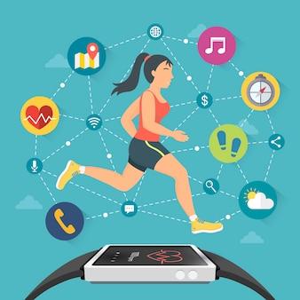 Flaches designillustrations-fitness- und sportkonzept der intelligenten uhr