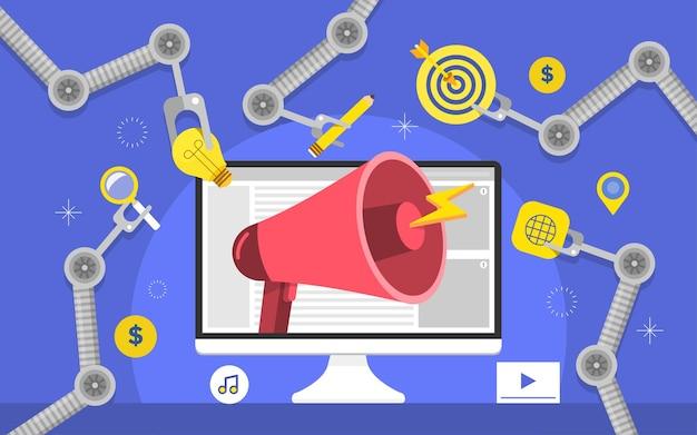 Flaches designkonzept automatisierungsmarketing. digitale marketing-tools. designvorlage für website und banner.