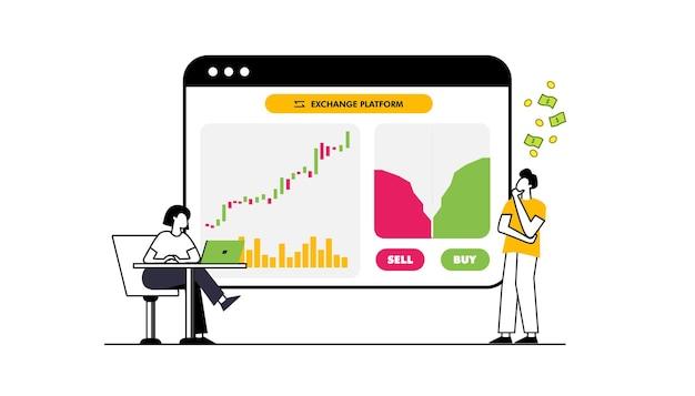 Flaches designkonzept börse und händler finanzmarktgeschäft mit diagrammdiagrammanalyse