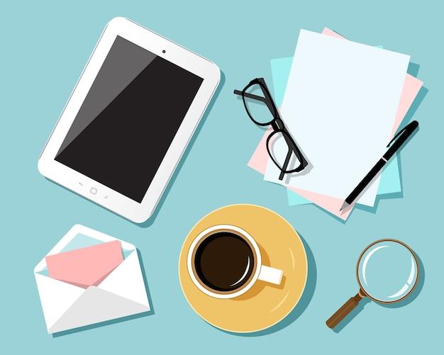 Flaches designkonzept des geschäftsarbeitsplatzes. draufsicht der tabelle mit tablette, flaches entwurfskonzept des geschäftsarbeitsplatzes.