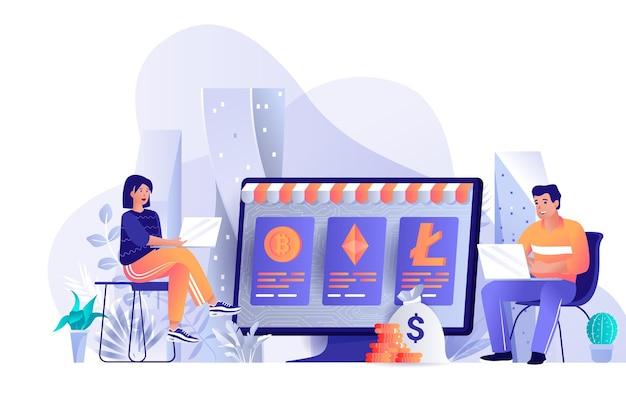 Flaches designkonzept des kryptowährungsmarktplatzes illustration der leutecharaktere