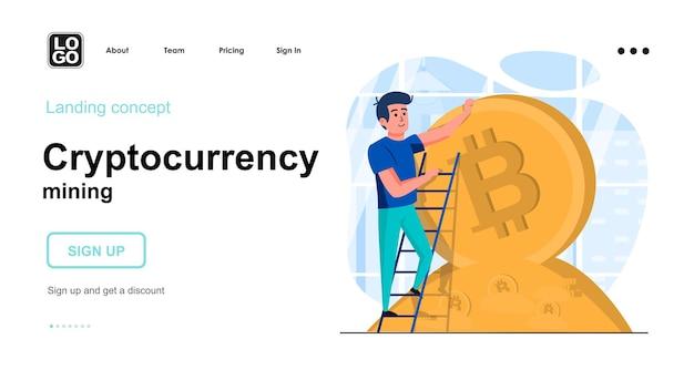 Flaches designkonzept für kryptowährungs-mining