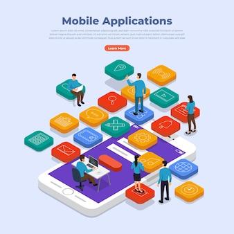Flaches designkonzept für mobile anwendungen und smartphones