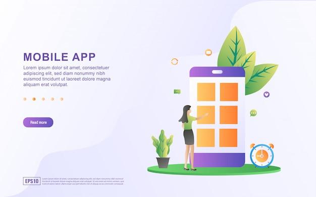 Flaches designkonzept für mobile apps. frau versucht eine mobile anwendung. installieren oder aktualisieren sie die mobile app.