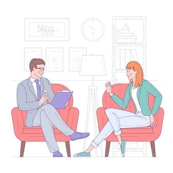 Flaches designkonzept für psychotherapie-sitzung. patient mit psychologe, psychotherapeutenbüro. psychiater-sitzung in einer psychiatrischen klinik.
