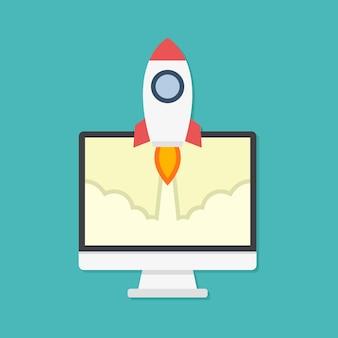 Flaches designkonzept für raketen- und computerstarts