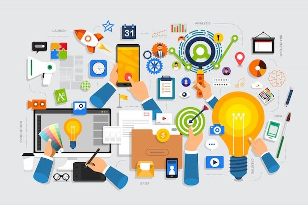 Flaches designkonzept kreativer prozess beginnt mit kurzen ideen, ideen und brainstorming.
