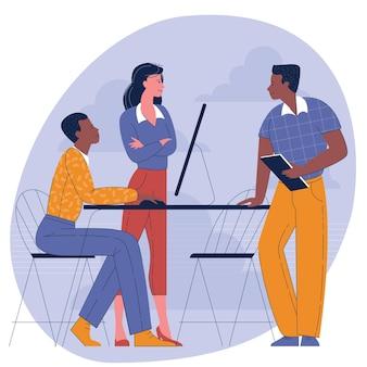 Flaches designkonzept von vielfalt und multikultureller teamarbeit.