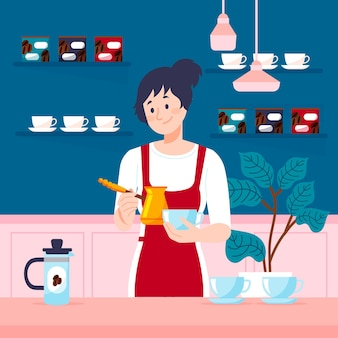 Flaches designmädchen, das kaffee macht