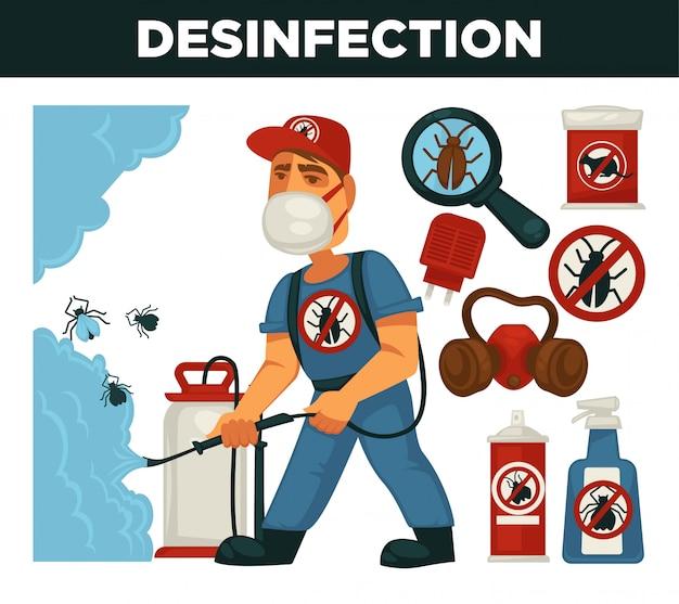 Flaches designplakat des ausrottungs- oder schädlingsbekämpfungsdienstes und des gesundheitlichen inländischen desinfektionsvektors.