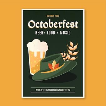 Flaches designplakat des oktoberfestes