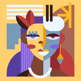 Flaches designporträt im kunststil in verschiedenen farben