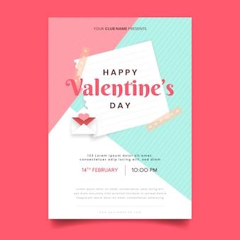 Flaches designschablonen-valentinstag-parteiplakat