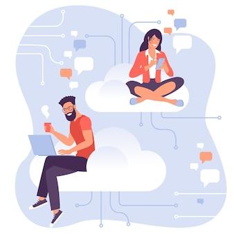 Flaches designvektorkonzept für cloud-service