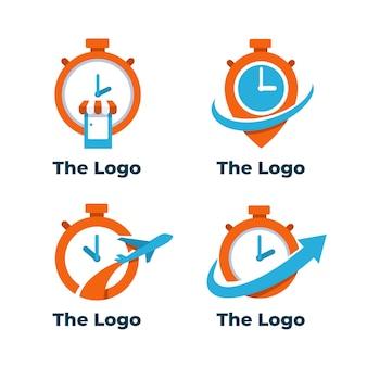 Flaches designzeit-logopaket