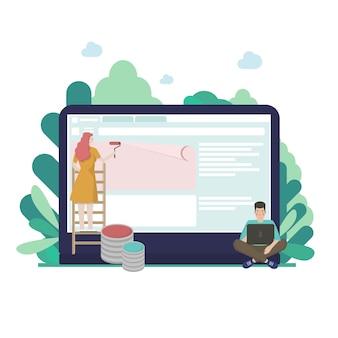 Flaches desktop-ui-oncept-design zum erstellen von websites. leute, die schnittstelle auf großem computerbildschirm erstellen. mann arbeitet mit laptop, frau malt blöcke für website.
