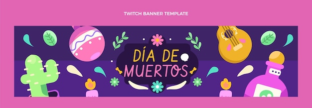 Flaches dia de muertos twitch-banner