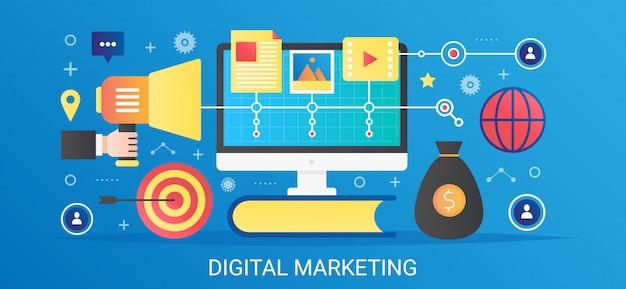 Flaches digitales marketingkonzeptschablonenbanner des modernen vektorflachgradienten mit symbolen und text.